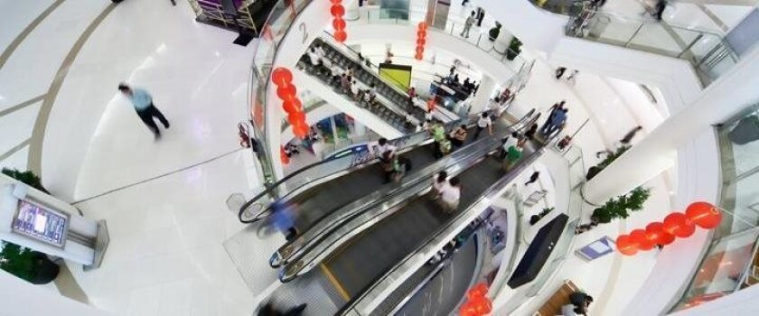 overhead shot of a shopping mall