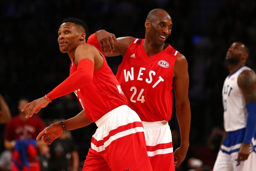 Russell Westbrook (i) repitió como JMV y Kobe (d) le dijo adiós al Juego de las Estrellas.