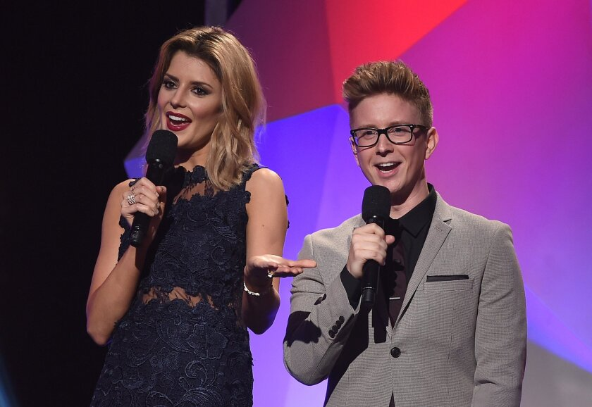 Internet personalities Grace Helbig and Tyler Oakley were hosts of the Streamy Awards.
