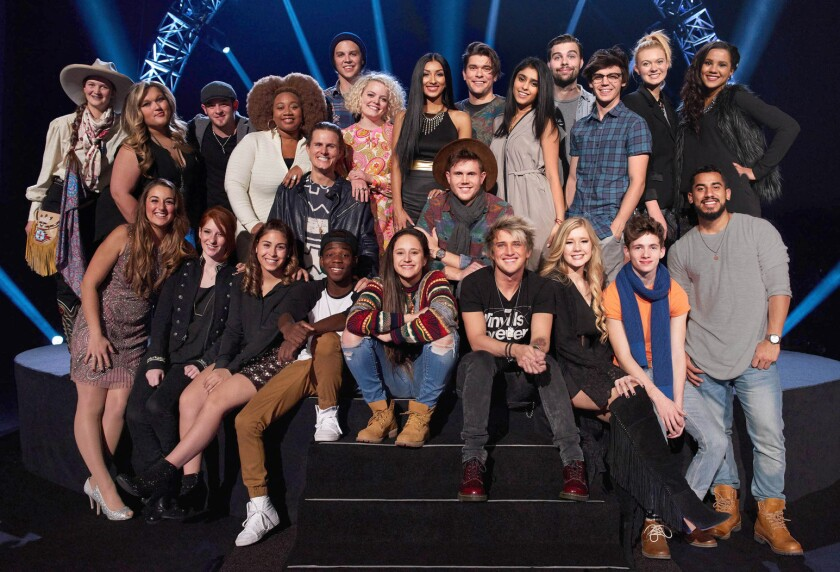 The final 'American Idol' Top 24 smile for the cameras.