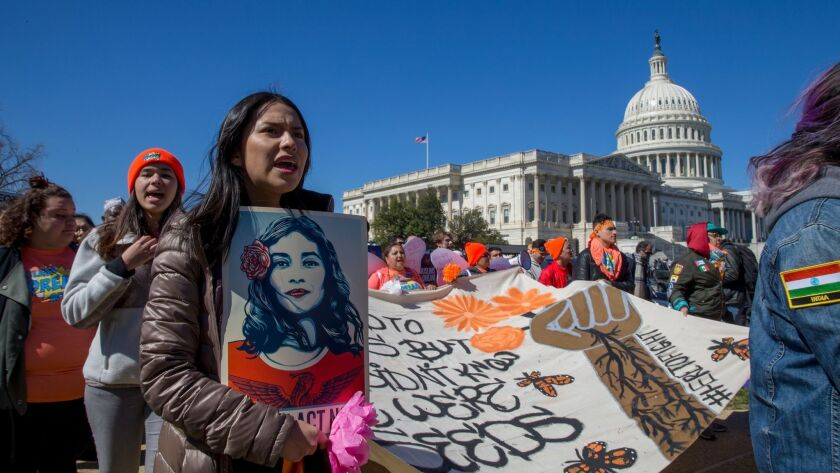 Supporters of DACA march at the U.S. Capitol in March.