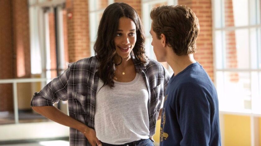 "Laura Harrier and Tom Holland in ""Spider-Man: Homecoming."""
