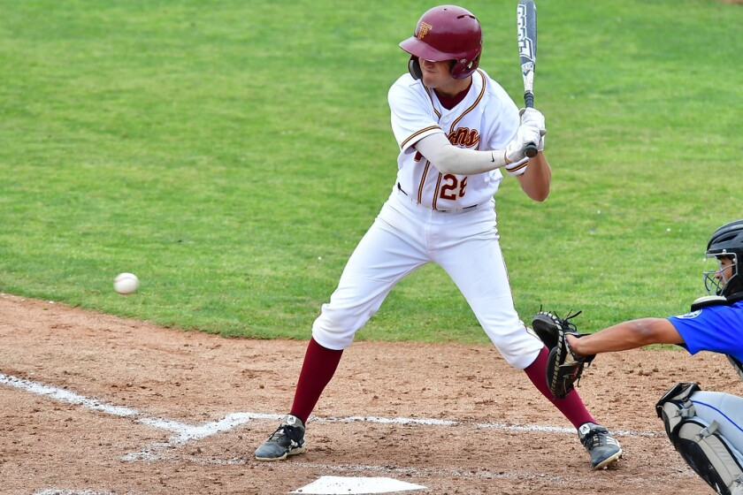A Torrey Pines High School baseball player at a recent game.