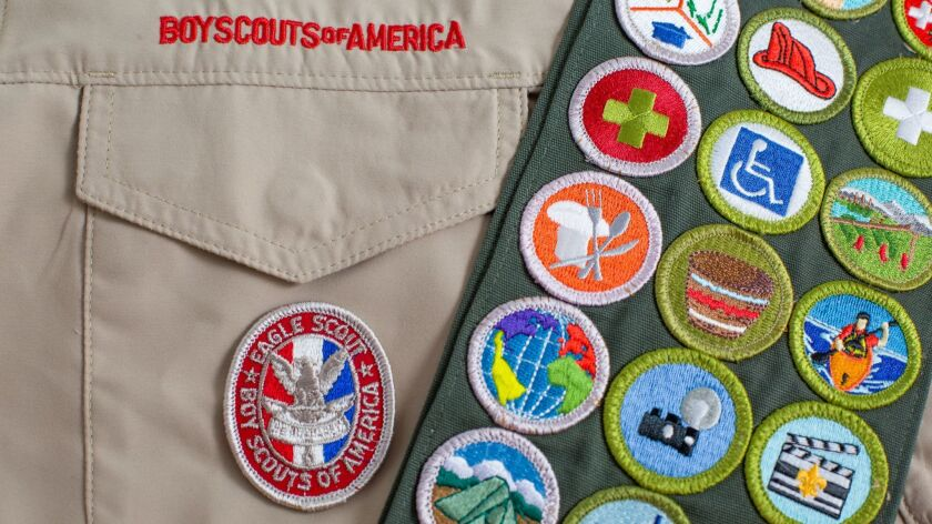 SAINT LOUIS, UNITED STATES - OCTOBER 16, 2017: Eagle patch and merit badge sash on Boy Scouts of Am