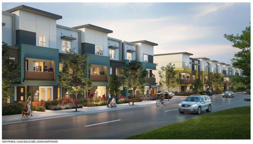 An artist's rendering of a new 116-home development coming to El Cajon Boulevard in El Cajon.