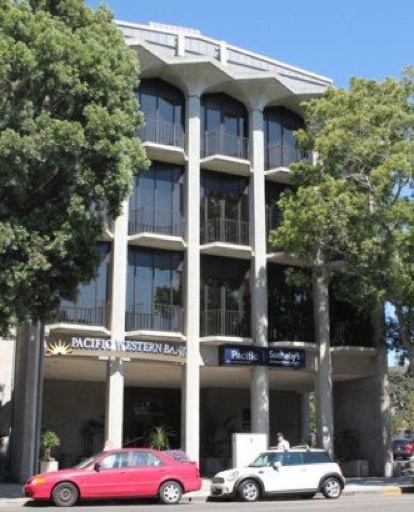 This five-story building at 7855 Ivanhoe Ave. opened in 1964 as the La Jolla Bank building. It was designed by famed La Jolla architect Robert Mosher.