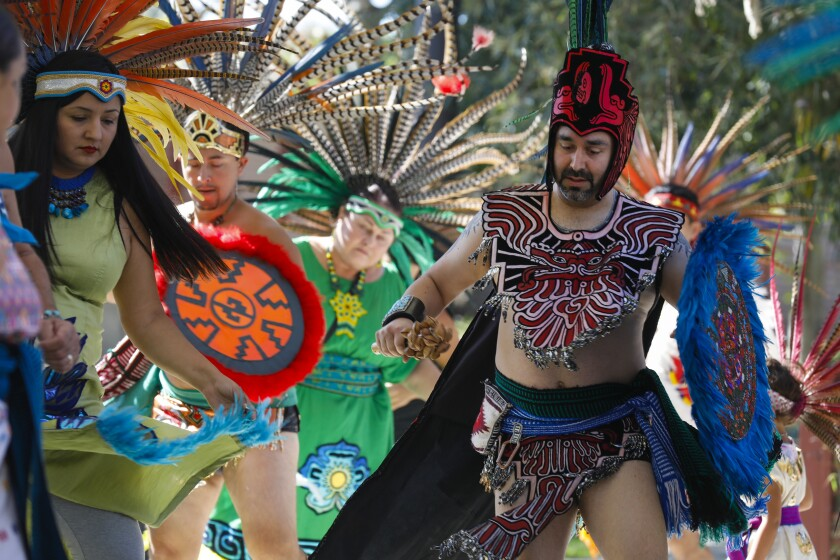 Dancers with Danza Mexi'cayotl performed  at The Joe and Vi Jacobs Center's first Hispanic Heritage Festival in 2019.