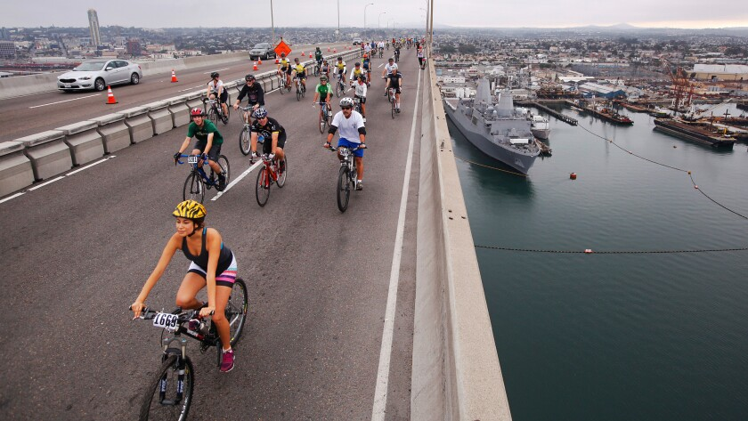 Riders make their way over the San Diego-Coronado Bay Bridge during the ninth annual Bike the Bay ride.