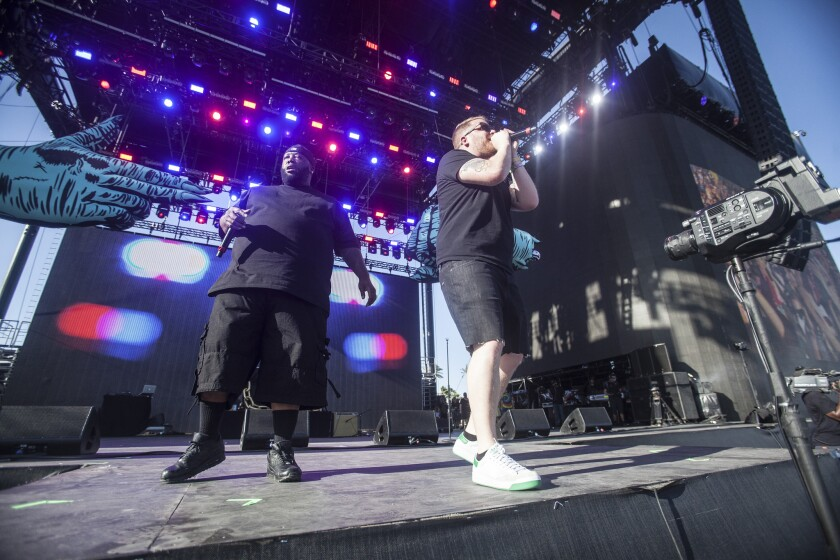 Killer Mike and El-P of Run the Jewels perform during Coachella on April 16, 2016 in Indio, Calif.
