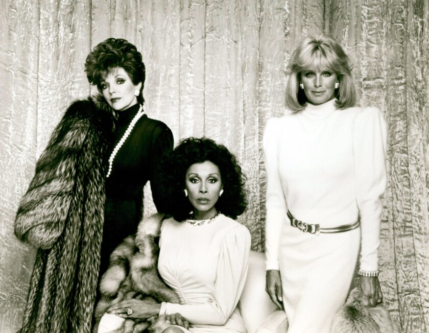 "Joan Collins, left, Diahann Carroll and Linda Evans of the prime-time soap opera ""Dynasty."""