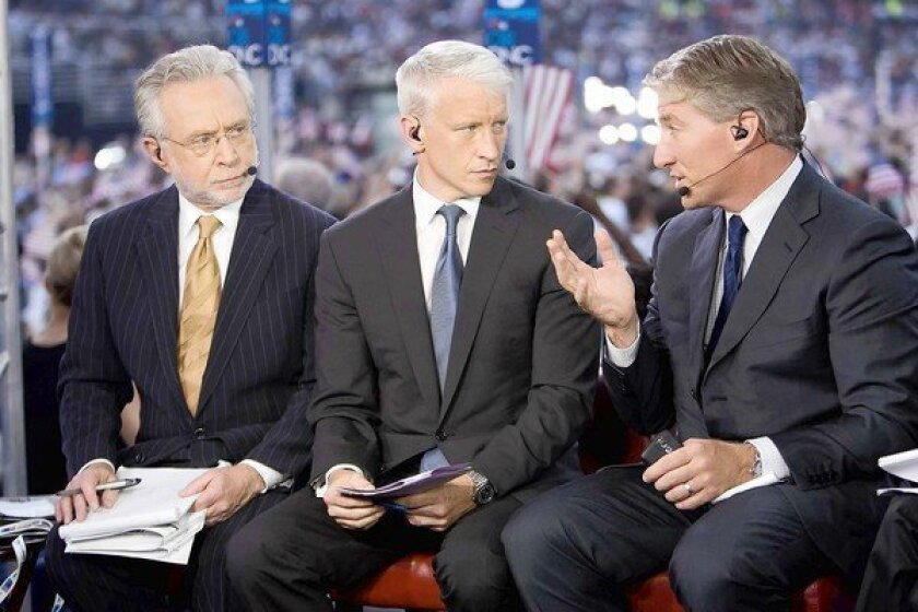 CNN's Wolf Blitzer, left, Anderson Cooper and John King at the 2008 Democratic National Convention in Denver.