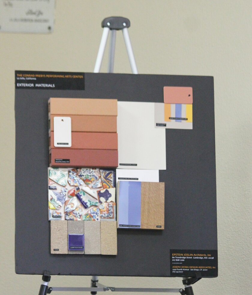 La Jolla Music Society and Epstein Joslin Architects discuss exterior colors and materials for the society's forthcoming performing arts center and offices on Fay Avenue, The Conrad, which will include an entryway tile mosaic and accent colors along Bishops Lane to provide visual appeal for neighbo