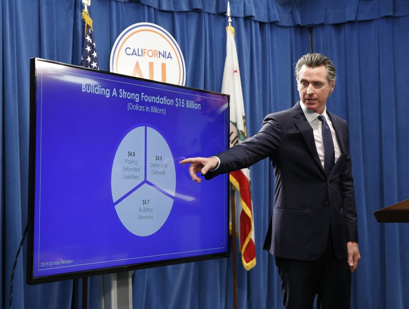 Gov. Gavin Newsom discusses his revised state budget at a news conference in Sacramento.