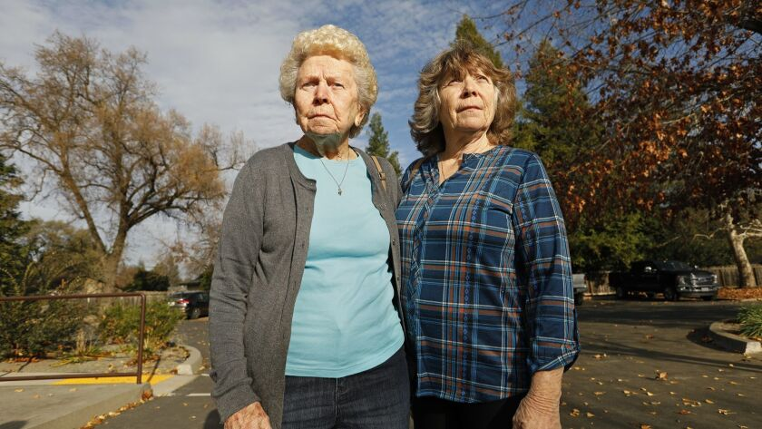 A lawsuit against Pacific Gas & Electric has been filed on behalf of Lila Williams, 93, left, and her daughter Louise Howell, 66, who both lost their homes in the Camp fire.