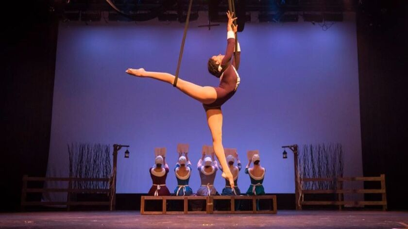"""Kiona Daelyn performs in a scene from Astraeus Aerial Dance Theatre's """"Echoes of Gallows Hill"""" at th"""