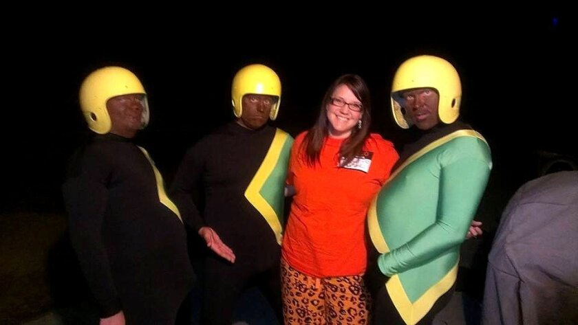 This photo, posted on Facebook, shows some of the people -- including two staff members at Serra High School in San Diego -- dressed as members of the Jamaican bobsled team for a Halloween party on Oct. 26.