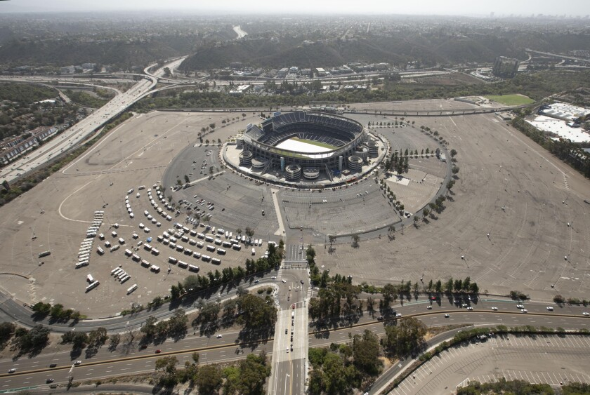 View of the city's stadium site in Mission Valley looking to the south.