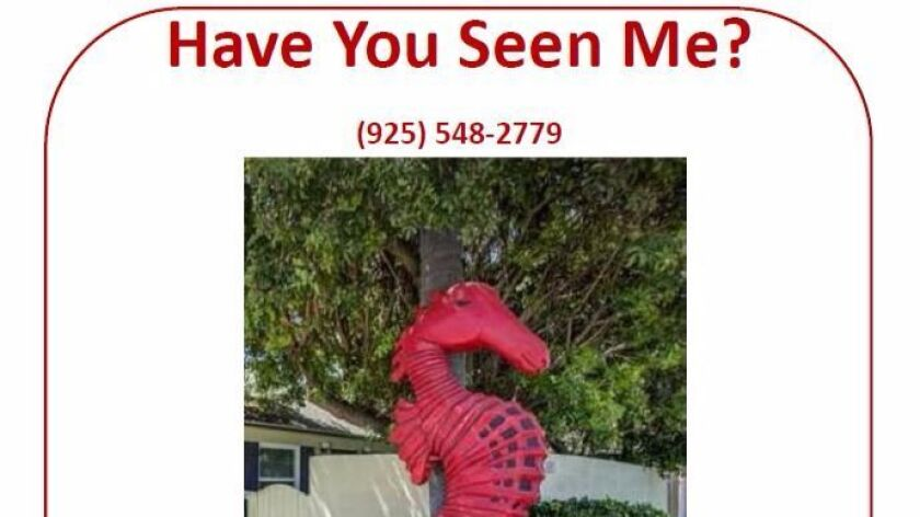 Clem Elgazzar plans to mount a poster of his missing seahorse where it stood for years at 7258 La Jo