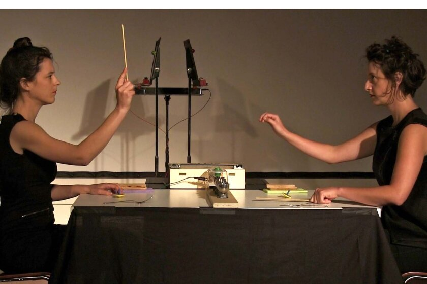 On Structure is flutist Natacha Diels (left) and cellist Jessie Marino.