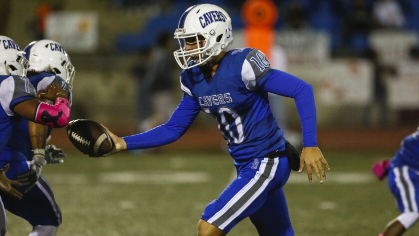 San Diego quarterback Quinn O'Connor (shown in an earlier game) was 9-of-17 passing for 179 yards in the Cavers' win over Linfield Christian.