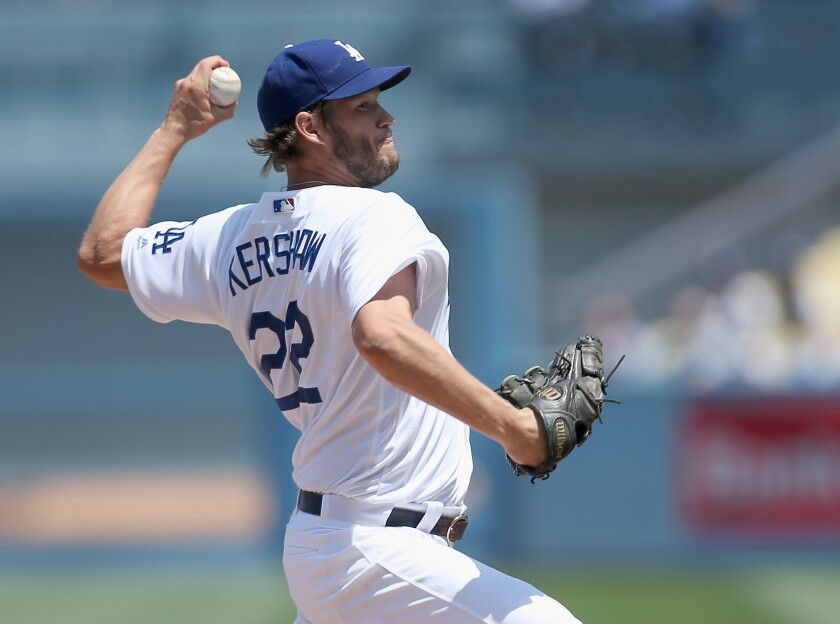 Dodgers left-hander Clayton Kershaw pitches against the Padres during a game on May 1.
