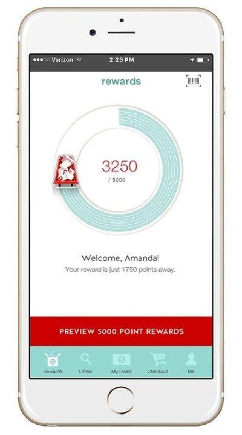 The Perks tab includes a dial that shows the customer's progress toward a reward, which can redeemed once the person reaches 5,000 points.