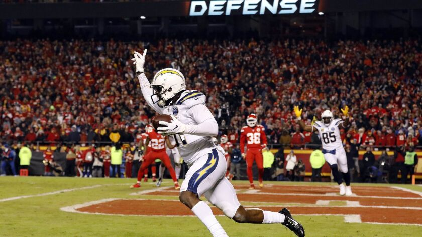 Wide receiver Mike Williams celebrates after catching the two-point conversion with four seconds remaining to put the Chargers up 29-28 over the Kansas City Chiefs in December.