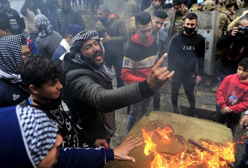 A protester in Tripoli, Lebanon