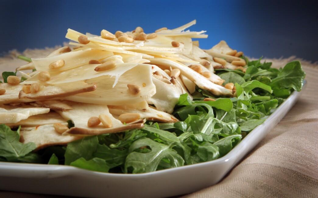 King trumpet mushroom salad with arugula and shaved Parmigiano
