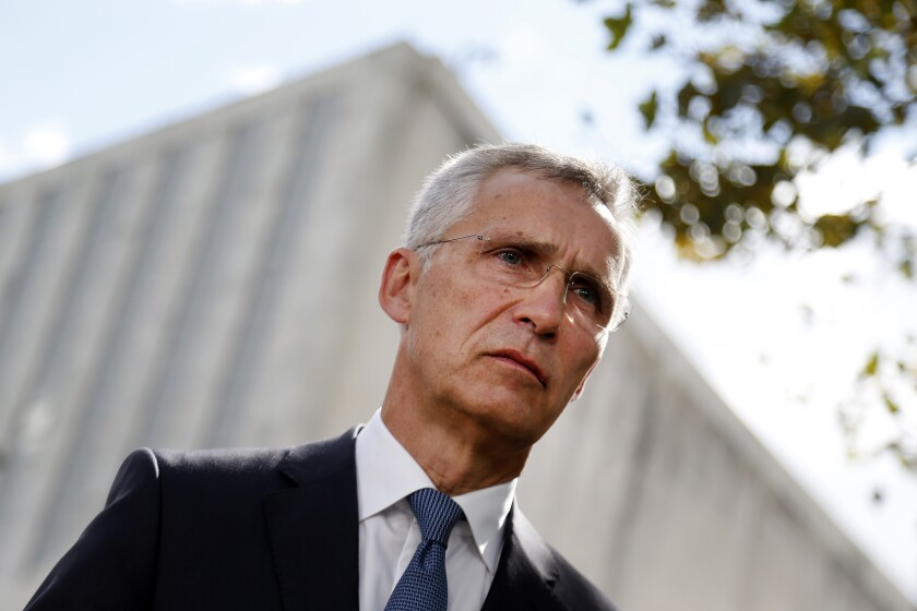 NATO Secretary-General Jens Stoltenberg gives an interview outside United Nations headquarters during the U.N. General Assembly, Tuesday, Sept. 24, 2019, in New York. (AP Photo/Jason DeCrow)