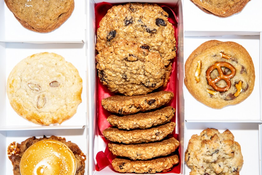A selection of Zooies cookies, with oatmeal raisin down the middle