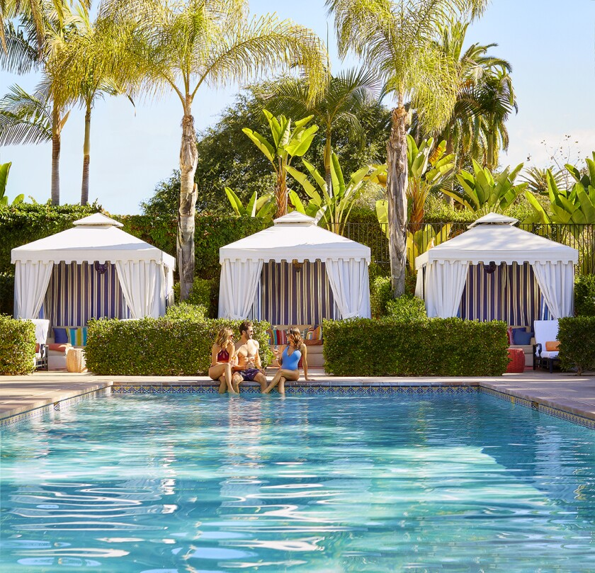Poolside at Rancho Santa Fe's Rancho Valencia, which is ranked the No. 1 luxury hotel in California by U.S. News & World Report.