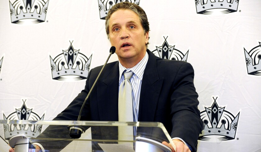 Kings General Manager Dean Lombardi at a Staples Center news conference on Dec. 21, 2011.