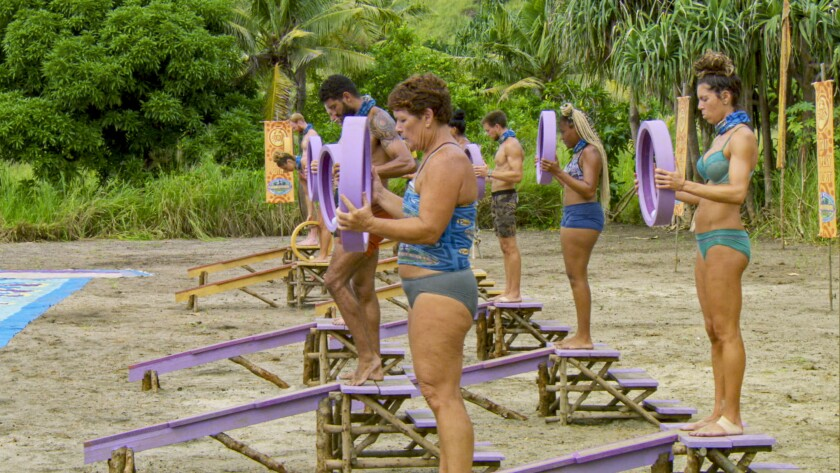 "Castaways compete in a challenge on ""Survivor: Island of the Idols."""