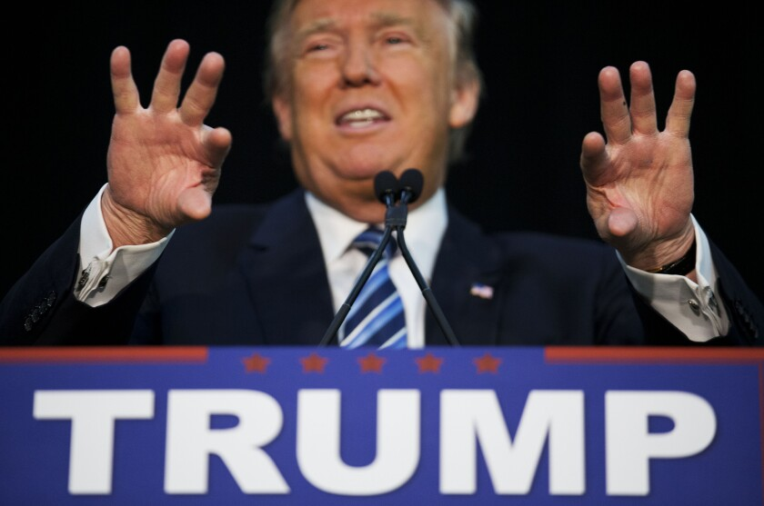 Donald Trump, shown on Feb. 7, 2016, has given a list of reasons for his second-place finish in the Iowa caucus. Data from political advertising tracker Kantar Media reveal another possible explanation: he got pummeled on TV political-advertising.