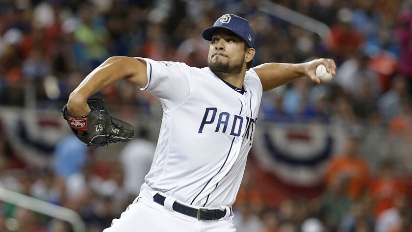 Reliever Brad Hand signed a three-year, $19.75 million contract extension with the Padres.