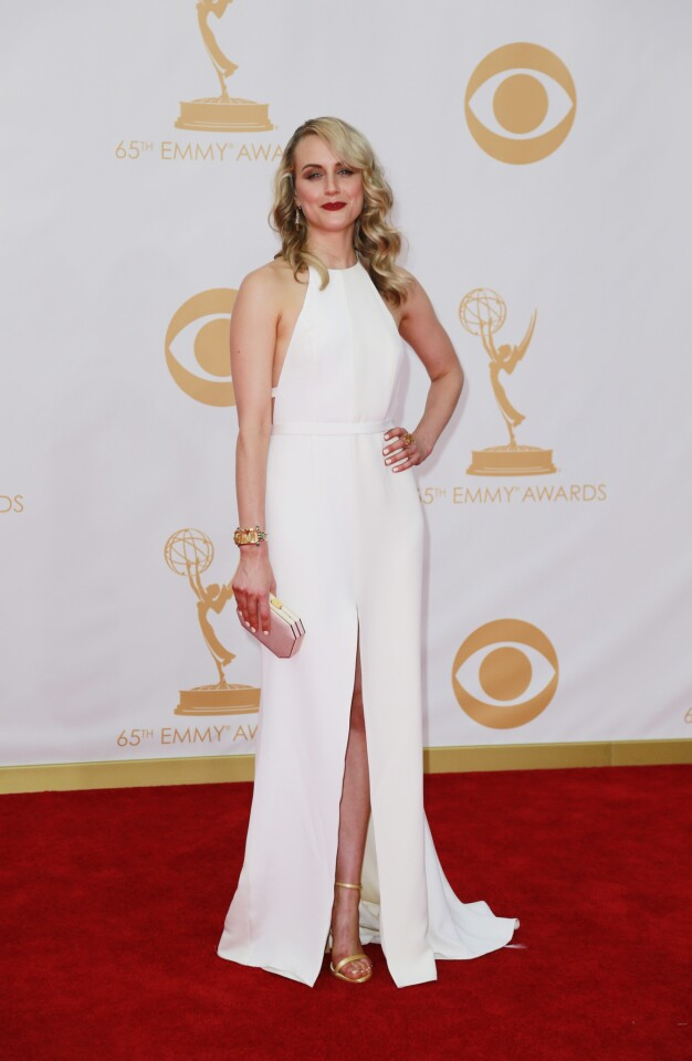 """The white silk column gown by Thakoon on """"Orange Is the New Black's"""" Taylor Schilling was the ultimate example of the night's strong and sleek look."""