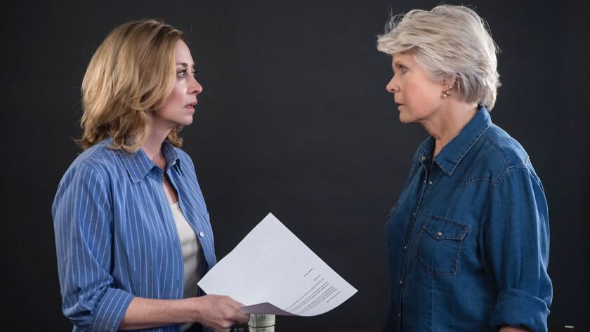 "Sharon Lawrence, left, and Meredith Baxter rehearse for ""The City of Conversation"" at the New Vic in Santa Barbara."