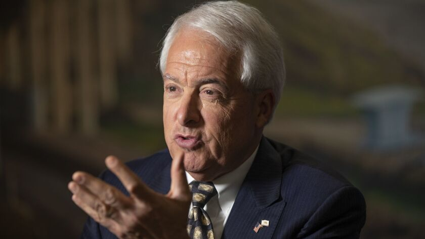Republican gubernatorial candidate John Cox speaks during a TV interview in San Diego on June 6.