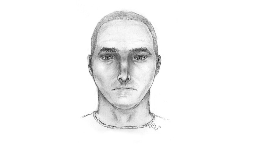 A sketch of a man sought in an attempted kidnapping in Norwalk.