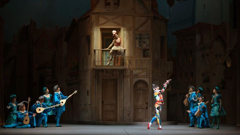 "Isabella Boylston and James Whiteside are joined by an ensemble of dancers in ""Harlequinade,"" which runs from Jan. 17 to 20 at the Segerstrom Center for the Arts in Costa Mesa."