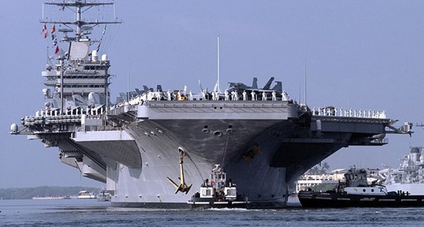 The aircraft carrier Abraham Lincoln.