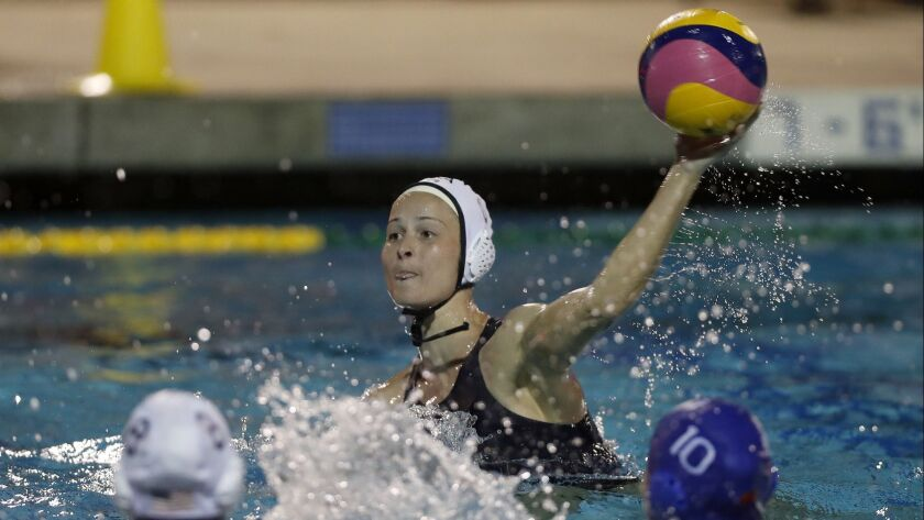 USA's Stephania Haralabidis scores against China during the first half in an exhibition game at UC I