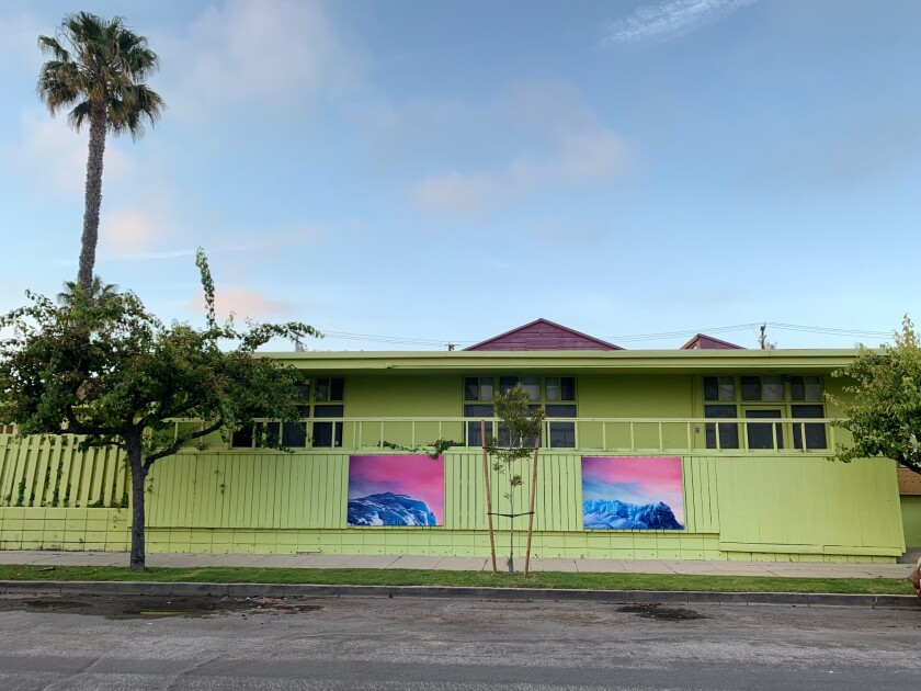 """An installation view of outdoor paintings by Argentine artist Luciana Abait, on view as part of the outdoor exhibition """"We Are Here / Here We Are."""""""