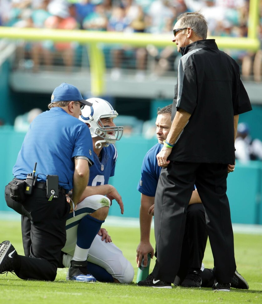 Indianapolis Colts quarterback Matt Hasselbeck (8) is attended on the field during the first half of an NFL football game against the Miami Dolphins, Sunday, Dec. 27, 2015, in Miami Gardens, Fla. Hasselbeck was removed from the game due to an injury. (AP Photo/Lynne Sladky)