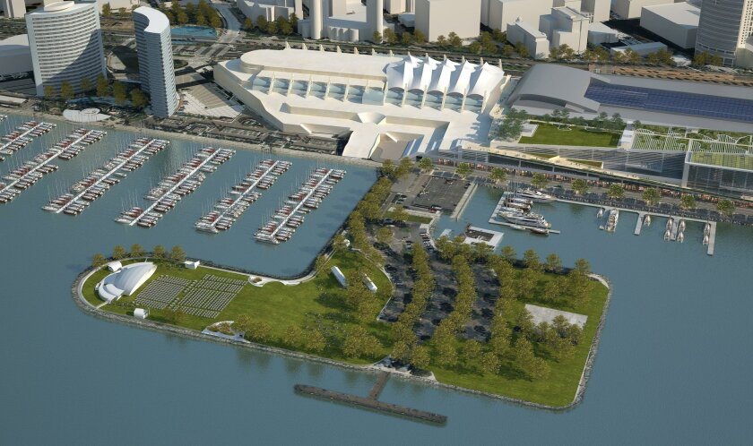 An aerial photo illustration shows the proposed San Diego Symphony Bayside Performance Center at Embarcadero Marina Park South.