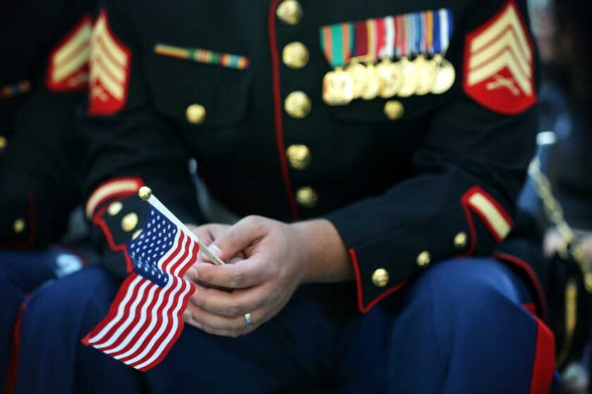 Veteran's Day Naturalization Ceremony Held At National Museum Of The Marine Corps