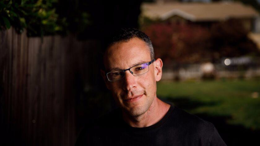 Ben Loory in his yard in Los Angeles.