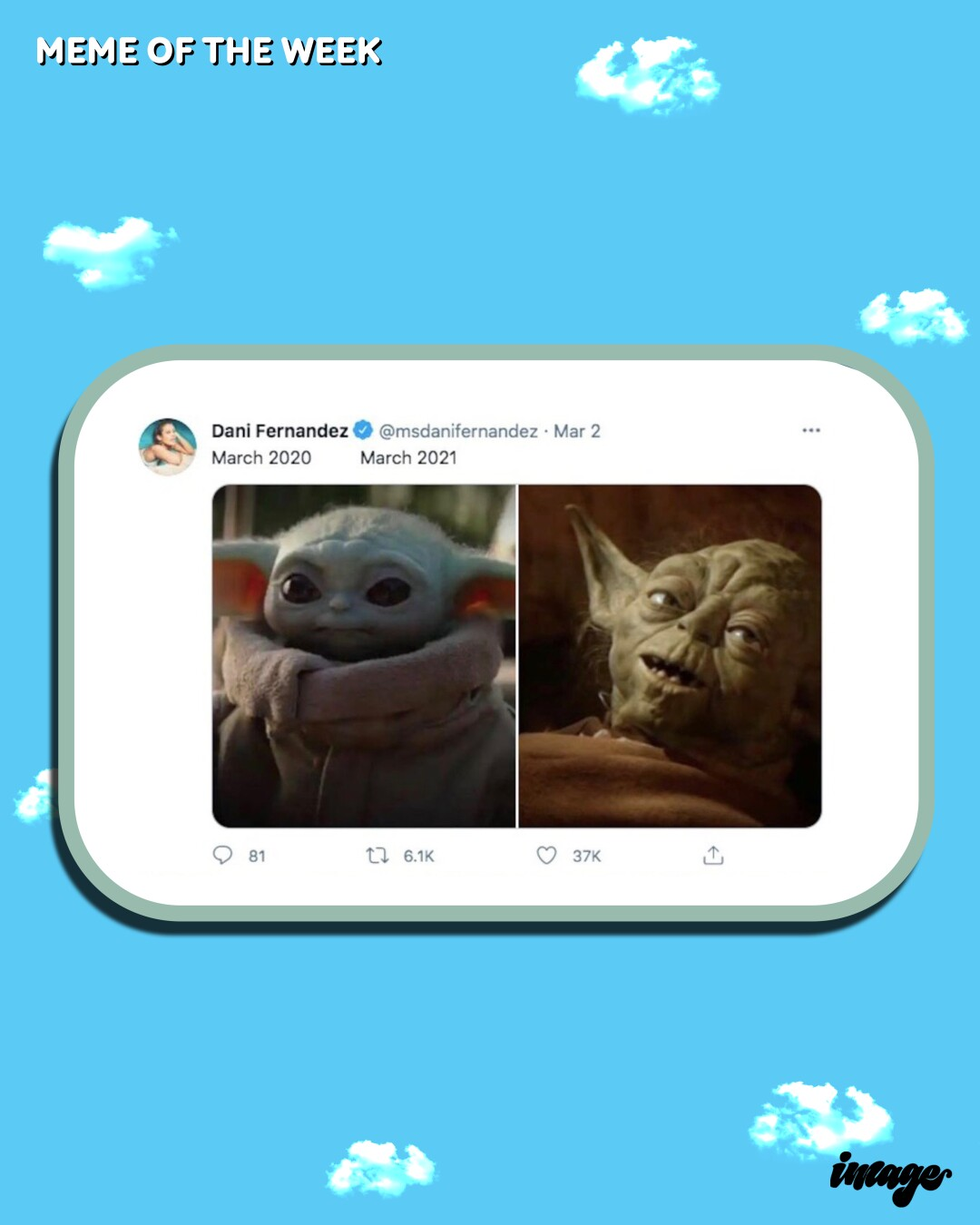 Side-by-side photos of Baby Yoda and Yoda in a meme on a cellphone