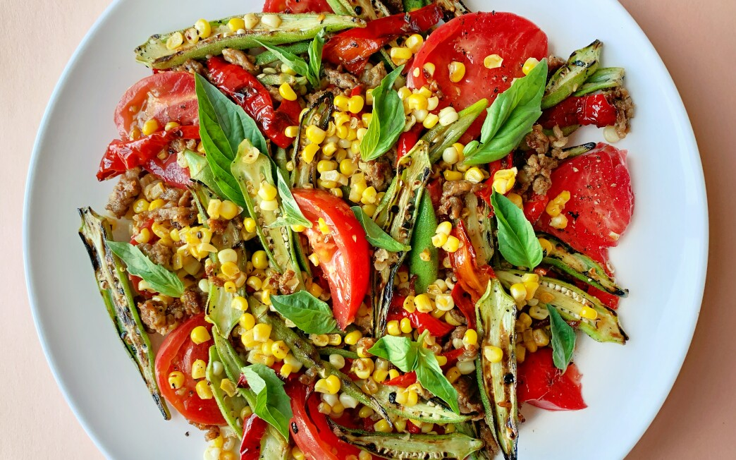 Charred okra, corn and Jimmy Nardello peppers.